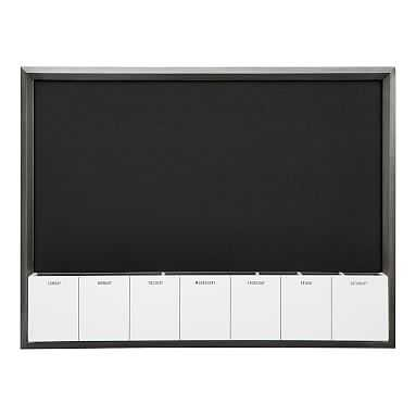 Pinboard With Dry Erase Calendar Cubby, Gray/Black - Pottery Barn Teen