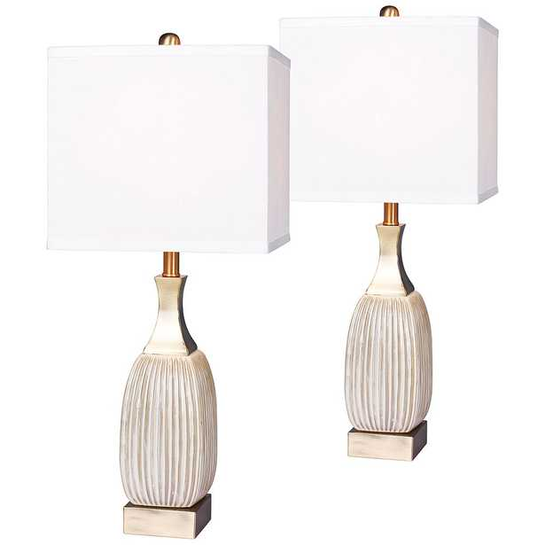 Lexie Ribbed Aged White Ceramic Table Lamp Set of 2 - Style # 47R88 - Lamps Plus