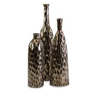 Shania Antiqued Ceramic 3 Piece Floor Vase Set - Wayfair