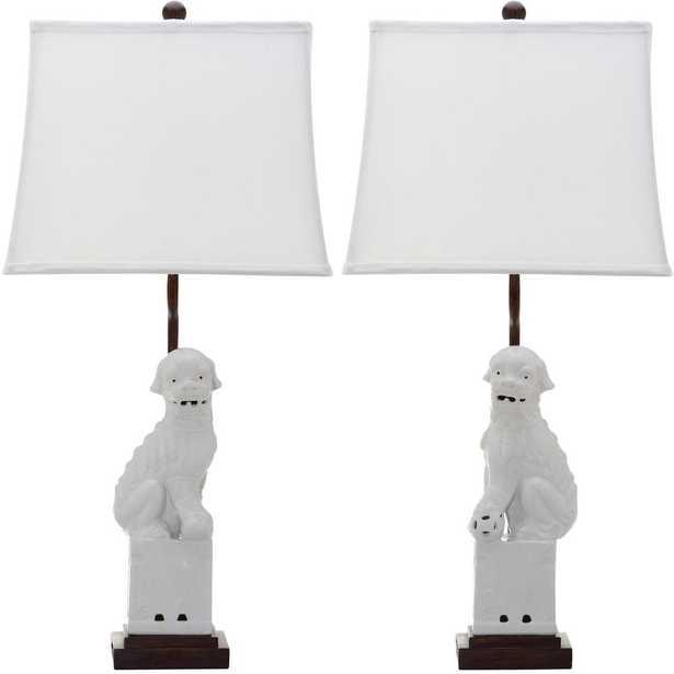 Safavieh Foo 28 in. White Dog Table Lamp (Set of 2) - Home Depot