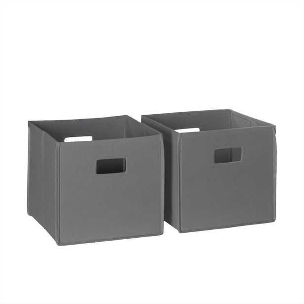 10.5 in. x 10 in. Folding Storage Bin Set in Gray (2-Piece) - Home Depot