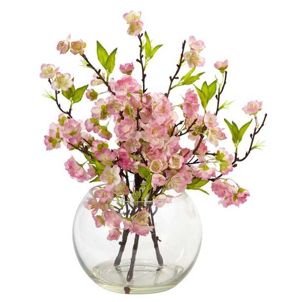 14 in. Cherry Blossom in Large Vase - Home Depot