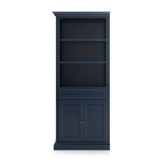 Cameo Indigo Storage Bookcase with Left Crown - Crate and Barrel