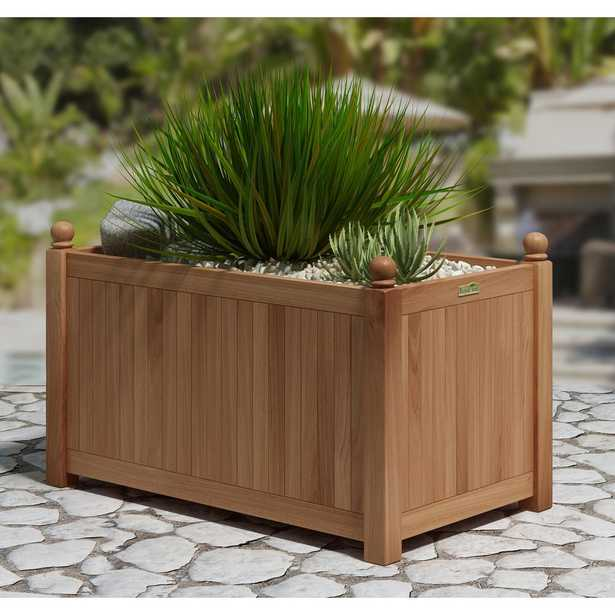 Lanza Products Natural Teak Outdoor Planter, Natual - Home Depot