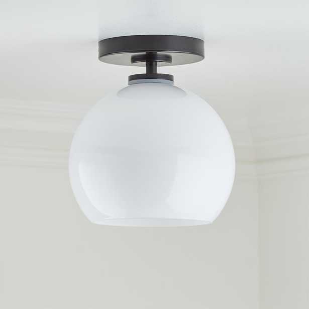 Arren Black Flush Mount Light with Milk Round Shade - Crate and Barrel
