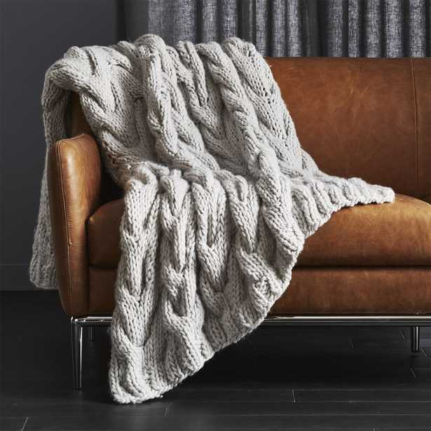 Chunky Light Grey Cable Knit Throw - CB2