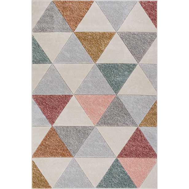 Ruby Clark Cream (Ivory) 8 ft. x 10 ft. Modern Geometric Triangle Shapes Area Rug - Home Depot