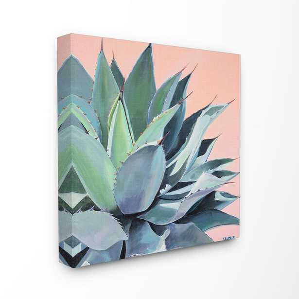 """17 in. x 17 in. """"Painted Aloe Succulent on Coral Peach Ground"""" by Niya Christine Canvas Wall Art, Multi-Colored - Home Depot"""