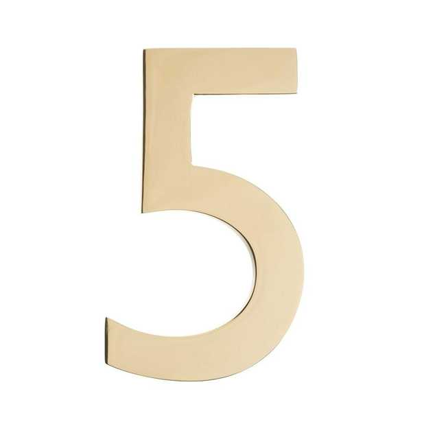 5 in. Polished Brass House Number 5 - Home Depot