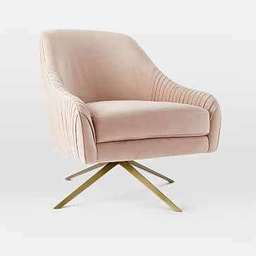 Roar + Rabbit Chair, Lustre Velvet, Dusty Blush - West Elm