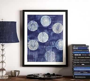 "Indigo Abstract Framed Print, Circles, 24 x 30"" - Pottery Barn"