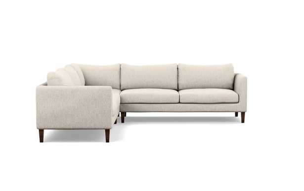 Owens Corner Sectional with Beige Wheat Fabric and Oiled Walnut legs - Interior Define