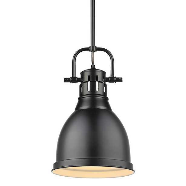 Golden Lighting Duncan 1-Light Black Pendant and Rod with Matte Black Shade - Home Depot