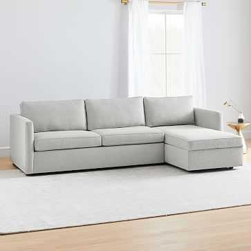 Harris Sectional Set 03: Left Arm Sleeper Sofa, Right Arm Storage Chaise, Poly, Chenille Tweed, Irongate, - West Elm