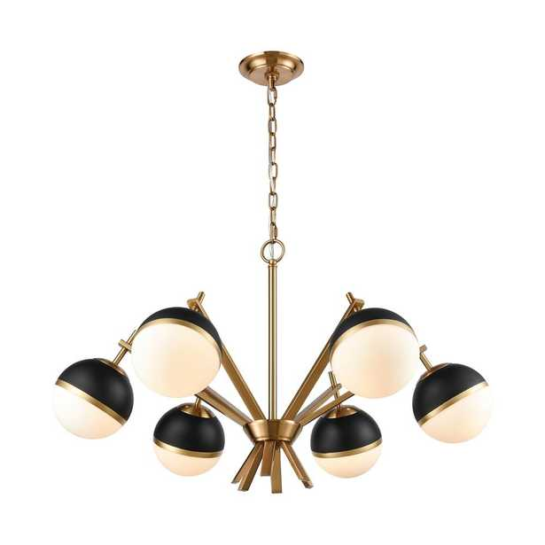 Titan Lighting Blind Tiger 6-Light Aged Brass Chandelier with Black and Opal Glass Shades - Home Depot
