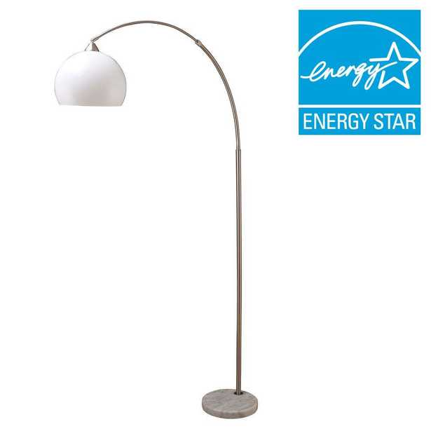 ORE International 76 in. H Modern Silver Arc Floor Lamp with White Marble Base - Home Depot