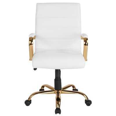 Leaman Task Chair, White/Gold - Wayfair