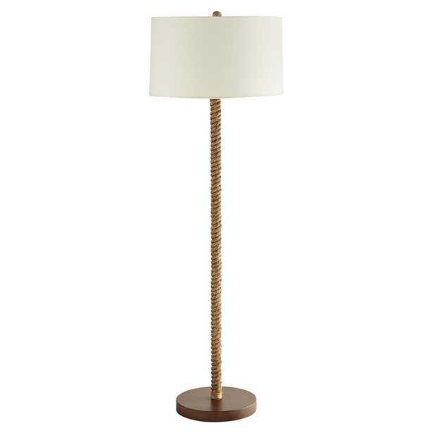 Connor Coastal Beach White Linen Shade Natural Jute Walnut Wood Base Floor Lamp - Kathy Kuo Home