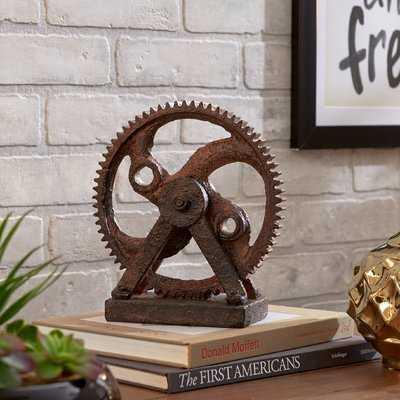Calera Rusted Gear Sculpture - Wayfair