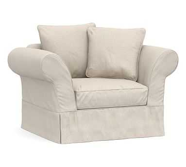 Charleston Slipcovered Chair-and-a-Half, Polyester Wrapped Cushions, Raw Slub Cotton Oatmeal - Pottery Barn