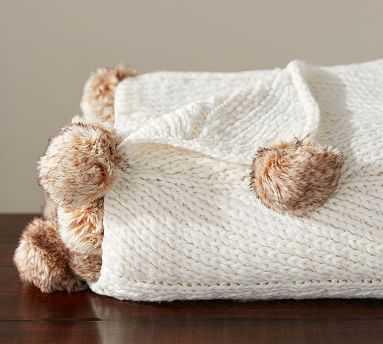 "Faux Fur Pom Pom Knitted Throw, 50x60"", Ivory - Pottery Barn"
