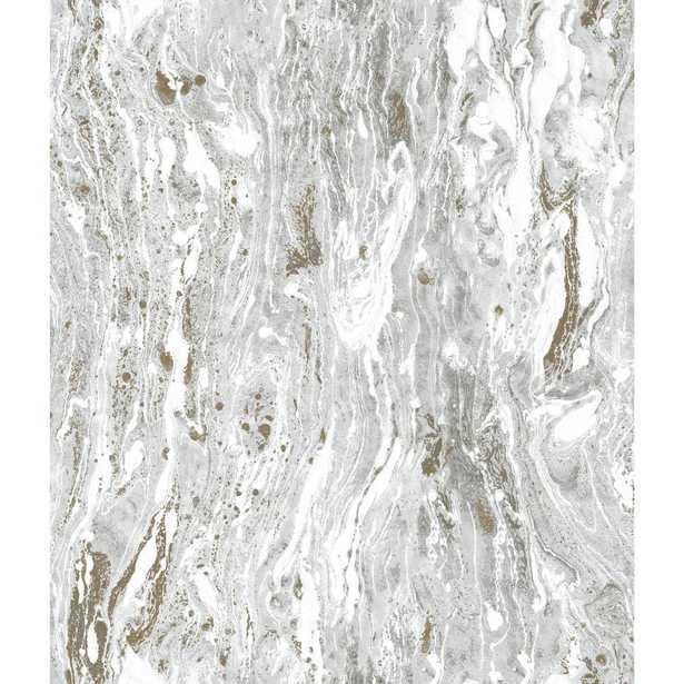 RoomMates 28.29 sq. ft. Satellite Seas Peel and Stick Wallpaper, Grey - Home Depot