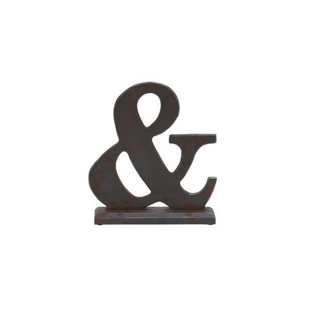 Deep Espresso Ampersand Wood Sculpture, Distressed Espresso Brown - Home Depot