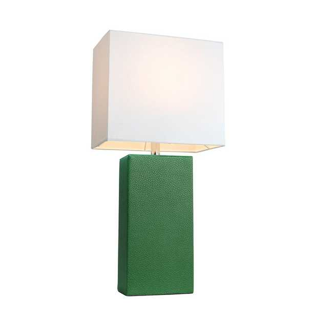 Elegant Designs Monaco Avenue 21 in. Modern Green Leather Table Lamp with White Fabric Shade - Home Depot