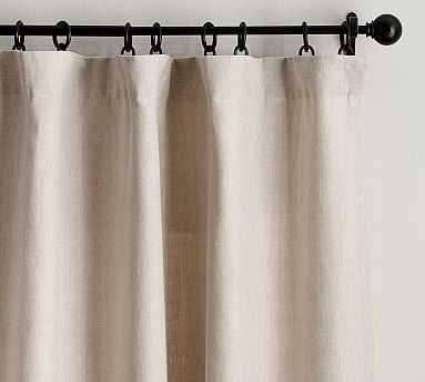 "Belgian Flax Linen Drape, Unlined, 50 x 84"", Natural - Pottery Barn"