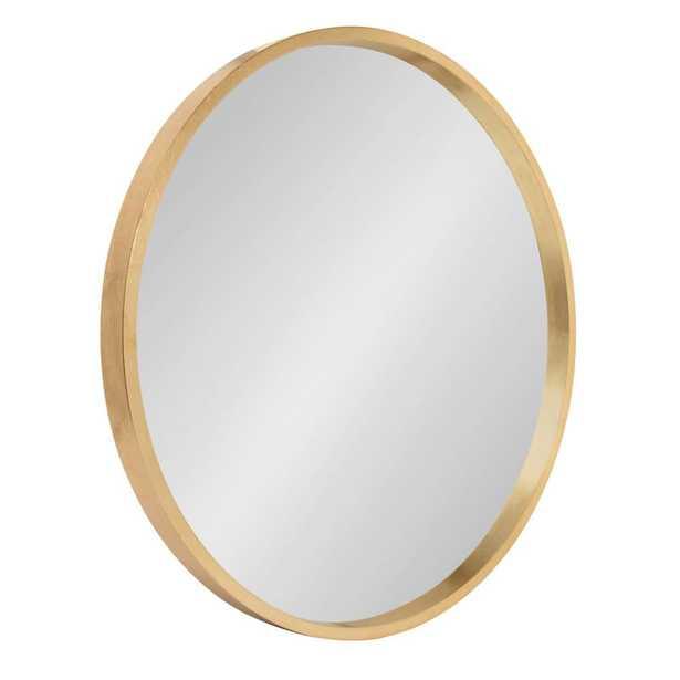 Travis Round Gold Wall Mirror - Home Depot