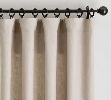 "Classic Belgian Flax Linen Drape, Cotton Lining, 50 x 84"", Dark Flax - Pottery Barn"