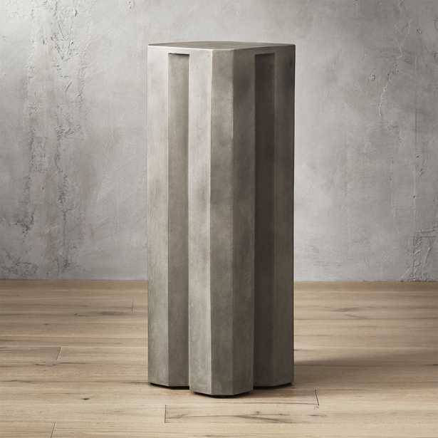 Hex Tall Grey Cement Pedestal Table - CB2