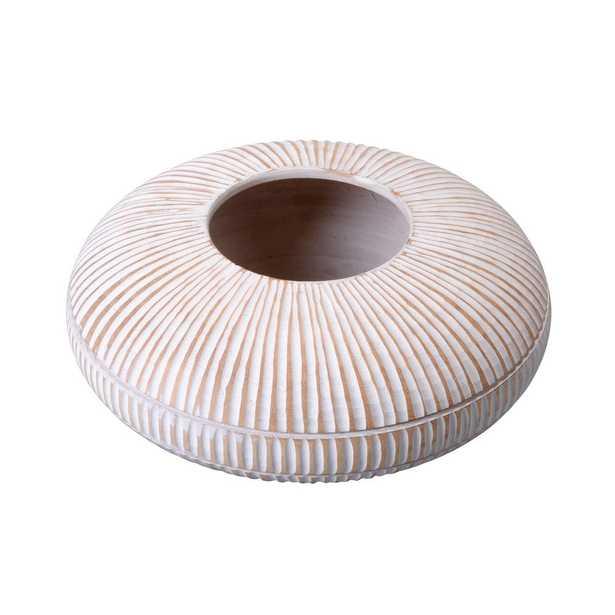 Villacera 4 in. x 10 in. White Handmade Short Flat Mango Wood Decorative Vase - Home Depot