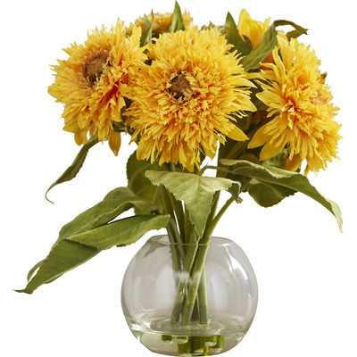 Golden Sunflower Floral Arrangement in Vase - Birch Lane