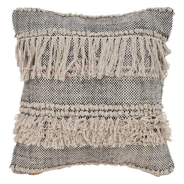 Zanthia Bespeckled 20 in. x 20 in. Natural/Black Indoor Throw Pillow - Home Depot