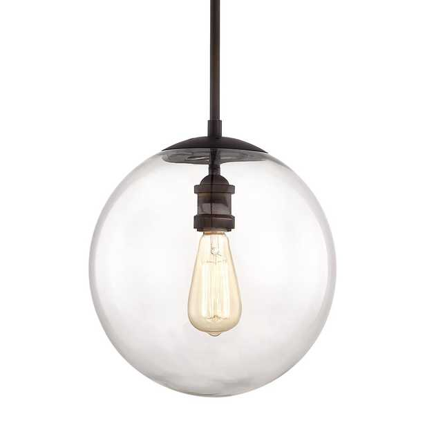 Home Decorators Collection 12 in. 1-Light Aged Bronze Globe Pendant Vintage Bulb Included - Home Depot