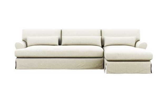 Maxwell Slipcovered Right Sectional with White Vanilla Fabric and Oiled Walnut with Brass Cap legs - Interior Define