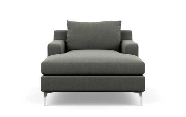 Sloan Chaise Chaise Lounge with Grey Tent Fabric, down alt. cushions, and Chrome Plated legs - Interior Define