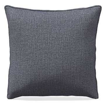 """20""""x 20"""" Welt Seam Pillow, Performance Yarn Dyed Linen Weave, Shelter Blue - West Elm"""