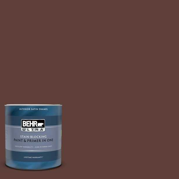BEHR ULTRA 1 qt. #PMD-62 Black Plum Satin Enamel Interior Paint and Primer in One - Home Depot