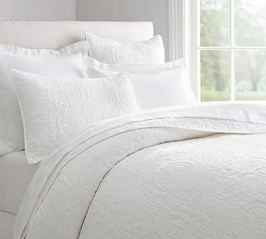Belgian Flax Linen Floral Stitch Quilt, Full/Queen, White - Pottery Barn