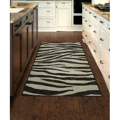Metzger Zebra Stripes Animal Print Black/Ivory Area Rug - Wayfair