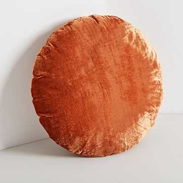 Round Lush Velvet Pillows, Copper - West Elm