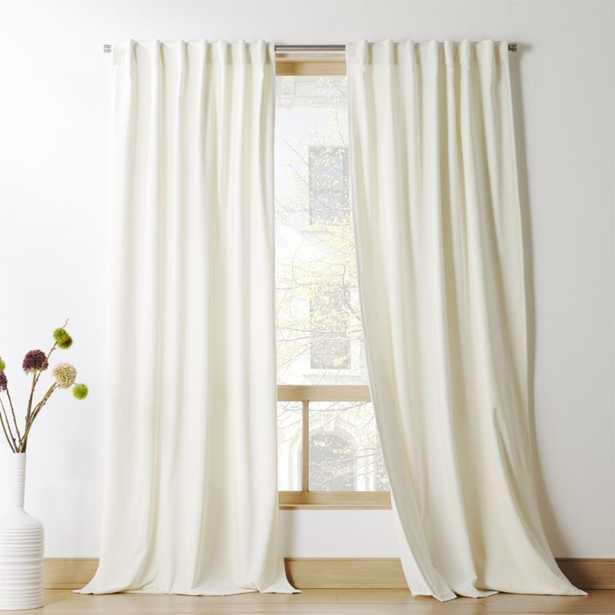 """Ivory Velvet Curtain Panel 48"""" x 108"""" - CB2"""