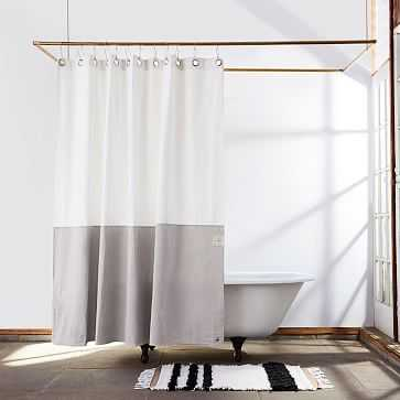 Quiet Town Home Shower Curtain, Orient, White Canvas, Driftwood - West Elm