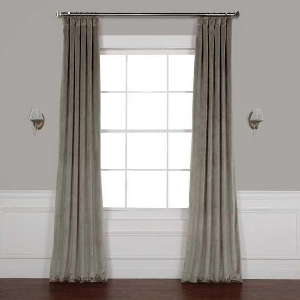 Exclusive Fabrics & Furnishings Destiny Grey Plush Velvet Curtain - 50 in. W x 108 in. L - Home Depot
