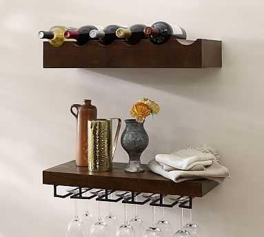 Rustic Wood Entertaining Set, Wine Bottle and Wine Glass Shelves, Mahogany finish - Pottery Barn