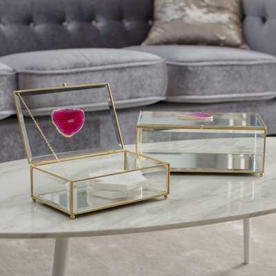 Djanira 2 Piece Maison Glass and Agate Boxes Set - Wayfair