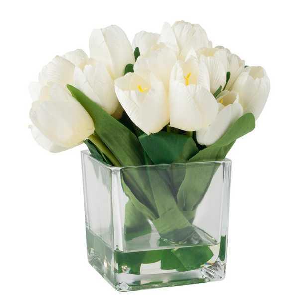 8.5 in. Tulip Floral Cream (Ivory) Arrangement - Home Depot