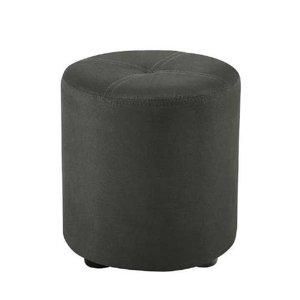 Pouf Gray Microfiber Round Ottoman - Home Depot